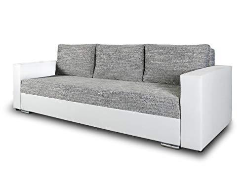 Schlafsofa Bird - Sofa mit Schlaffunktion und Bettkasten, Klappsofa, Schlafcouch mit Chromfüße, Couch, Couchgarnitur, Sofagarnitur (Weiß + Grau (Dolaro 511 + Berlin 01))