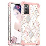 Galaxy Note 20 Case, ZHK Marble 3 Layer Heavy Duty Shockproof Case Hard PC Cover+Silicone Rubber Hybrid Sturdy Armor Full-Body Protective Cover Case for Samsung Galaxy Note 20 5G(2020)-Rosegold