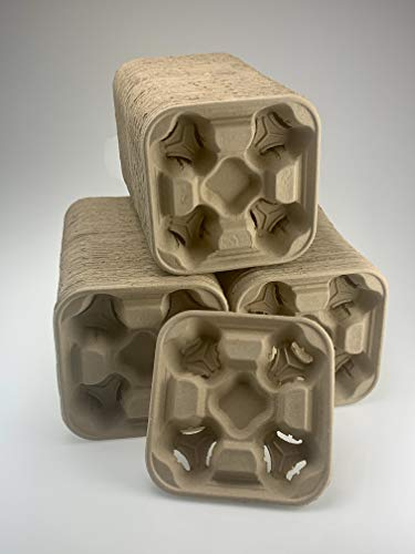Footprint - 2502 4-Cup Drink Carriers 300 Pack'New & Improved!' (Sept 2020) - Biodegradable, Premium Eco-Friendly Drink Carriers in Bulk for Restaurants, Cafes & Coffee Shops