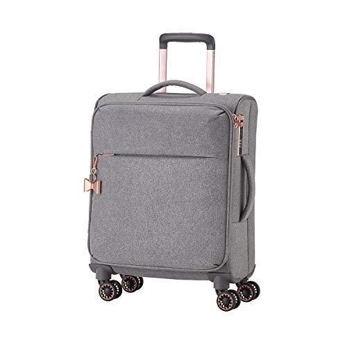 TITAN 4-Rad Weichgepäck Koffer Handgepäck, TSA Schloss + Aufsteckfunktion, Gepäck Serie BARBARA: Exklusiver Trolley im eleganten Look, 383406-04, S (55 cm), 37 Liter, grey (grau)
