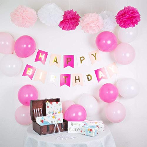 infinimo Decoracion de cumpleaños Rosa Blanco ✮ Feliz Cumpleaños con Guirnalda + Globos + Pompoms ✮ para cumpleaños y Fiesta