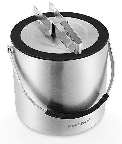 Rorence Stainless Steel Ice Bucket: 3 Quart Double-Wall Insulated Champagne Bucket with Airtight Lid & Ice Tongs