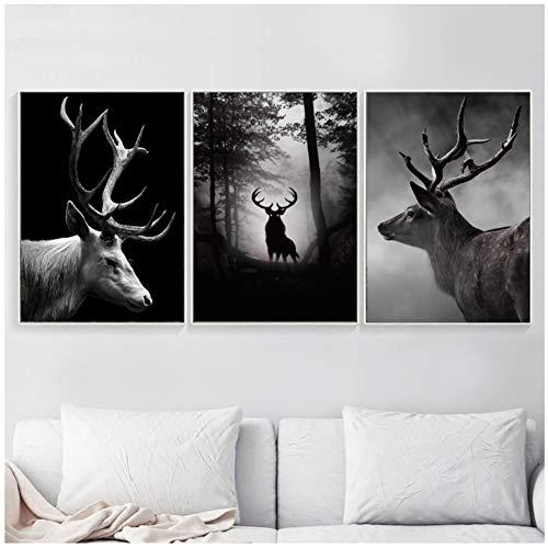 Schwarz, Weiß, Elch, Wandkunst, Leinen, Malerei, nordische Motive und Drucke, für Living Room Dekoration, 50 x 70 cm, 3 Stück, ohne Rahmen