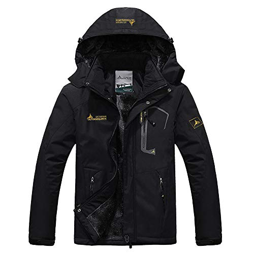 Strungten Herren Winter wasserdichte Winddichte Winterjacke Warme Fleece-Futter Ski Regenmantel mit Kapuze Outdoorjacke Ultra Atmungsaktiv Funktionsjacke Verdickt Warm Übergangsjacke Softshelljacke