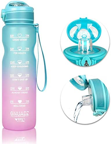 GNUADZ 36oz Motivational Water Bottle with Time Capacity Marker Leak Proof Tritan BPA Free Sports product image