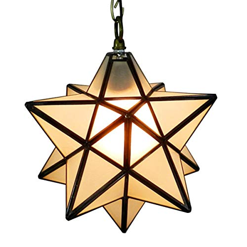 CHHD Homestia Rural Pentagram Stéréo Star Drop Pendant Light Crystal Grind Glass Plafonnier