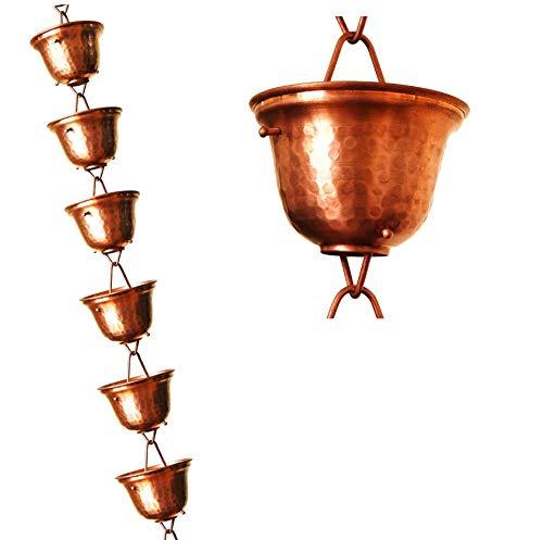 u-nitt 8–1/2Füße reines Kupfer Regen Kette: Teelicht Tasse 8,5ft Länge # 3124C