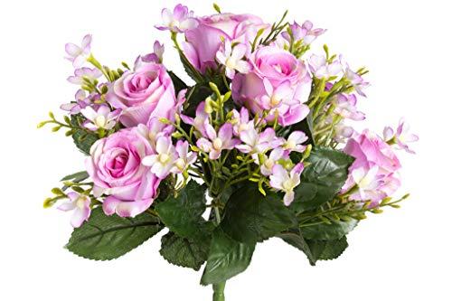 Nova-Nature künstlicher Rosenstrauß mit grünem Blattwerk (rosa)