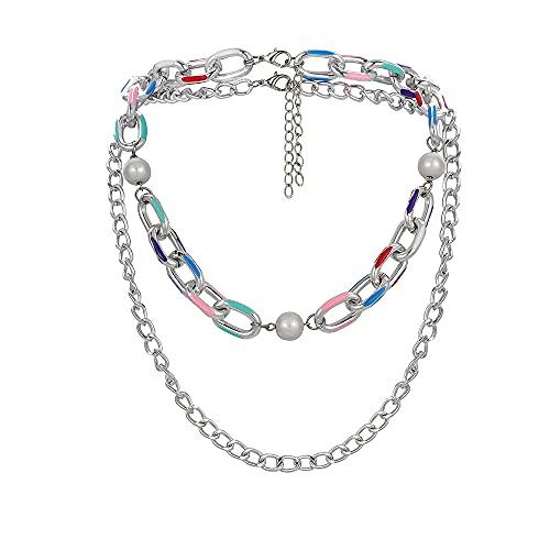 Collar de plata bohemia con perlas reflectantes de doble capa para hombre