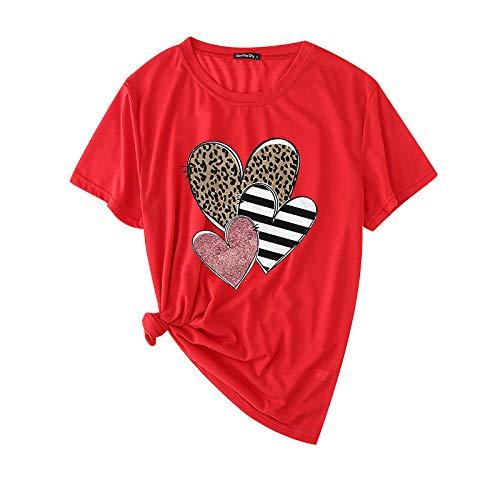 Janly Clearance Sale Blusa de manga larga para mujer, cuello redondo, estampado de leopardo, manga corta, para...