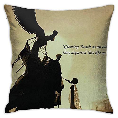 Funda de almohada cuadrada para sofá de la muerte con mensaje 'Greeting Death', 45,7 x 45,7 cm