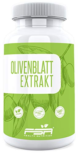Olivenblatt Extrakt 90 Kapseln, 500 mg pro Kapsel, 20% Oleuropein, Vegan - Made in Germany - FSA Nutrition