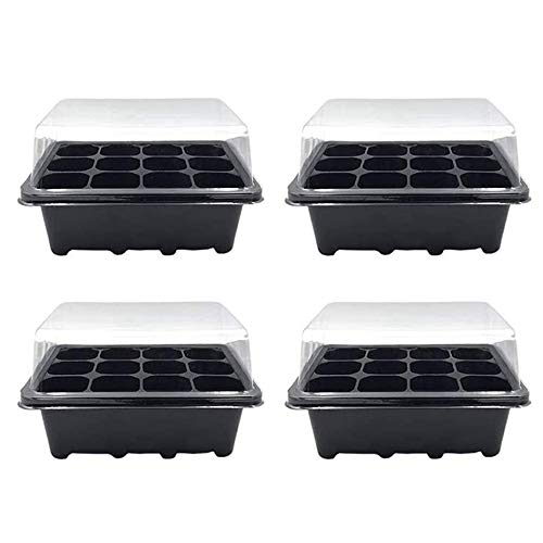Seedling Trays Seed Starter Box,Seedling Trays With Holes,6pcs 12 Cells Seed Starter Box with Lid for Starting Plantings Propagation Germination (4PCS)