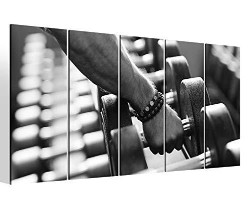 Leinwandbilder 5 teilig XXL 200x100cm schwarz weiß Hantel Muskeln Training Übung Fitness Sport Druck auf Leinwand Bild 9BM2258