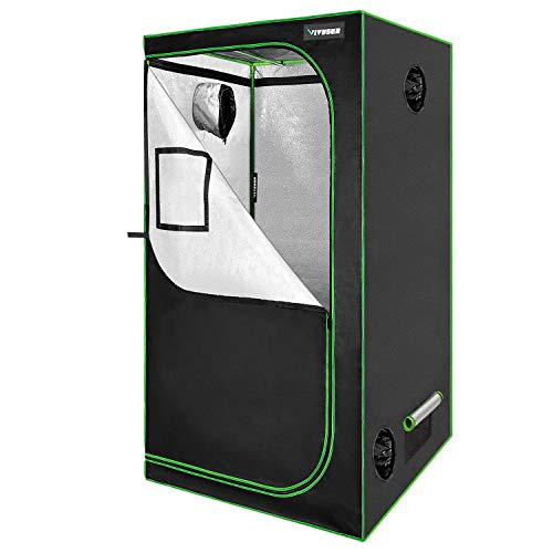 """VIVOSUN 36""""x36""""x72"""" Mylar Hydroponic Grow Tent with Observation Window and Floor Tray for Indoor Plant Growing 3'x3'"""
