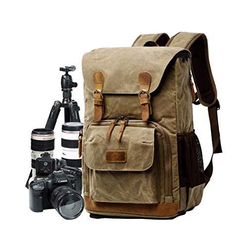 SROMEZ Kamera-Rucksack Wasserabweisend Kamerarucksack Reiserucksack SLR Rucksack mit 15,6 Zoll Laptop für DSLR,Khaki