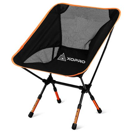 XOPRO Ultra Light Foldable Camping Chair, Orange, 1 Pack