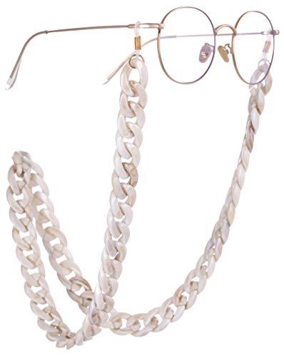 EUEAVAN Retenedor de gafas de acrílico Cadena Gafas de sol Correa Cadena Gafas de lectura Collares Cadena para mujeres y hombres (Blanco crema)