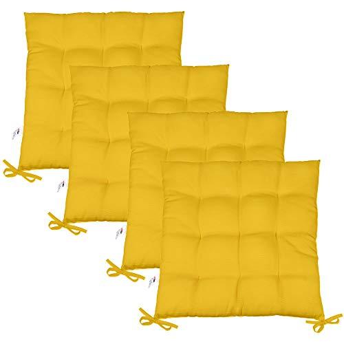 CelinaTex Yoyo Sitzkissen 4er-Set 40 x 40 cm gelb Gartenstuhlkissen mit Bänder Sitzauflage Garten Balkon Terrasse