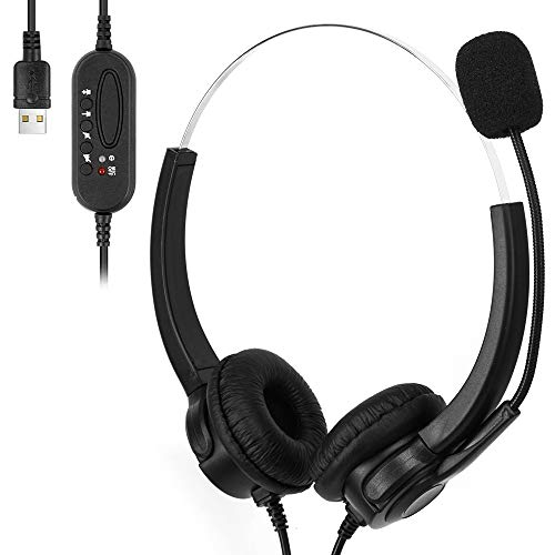 USB-Headset mit Mikrofon, Geräuschunterdrückung & Audio-Steuerung, kabelgebundener PC-Kopfhörer, Computer-Headset mit Mikrofon, Kundendienst, Gaming-Headset, VOIP-Headset für Skype