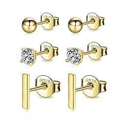 Gold Bar Studs Design : Simple and Classical Design. Perfect to compliment your outfit and make-up both on casual and formal occasion. Hypoallergenic Material: These gold stud earrings set are made of premium 925 Sterling Silver Post. 14K Gold Plated...