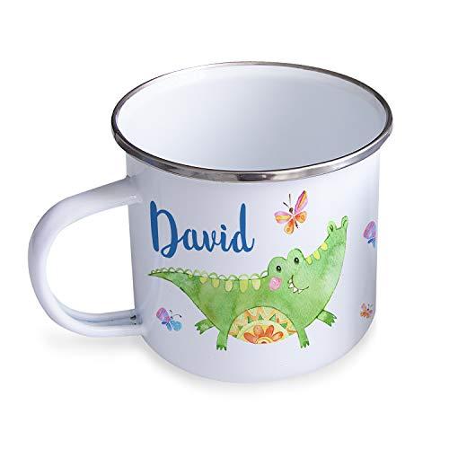 Personello® Emaille Tasse Becher mit Namen Bedrucken, weiß, Krokodil mit Schmetterling, für Kinder im Kindergarten, 300ml