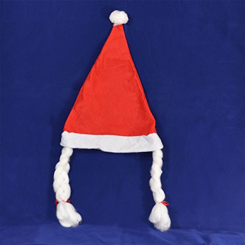 Gifts 4 All Occasions Limited SHATCHI MS Hat with Plaits & Ribbon Mrs Miss Santa Claus Eve Lady Fancy Dress Fun Party Accessories Novelty Xmas Female Girls Woman Women, Red/White