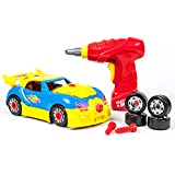 PicassoTiles Take-A-Part Race Car Set with LED, Engine Sound, Mini Electric...