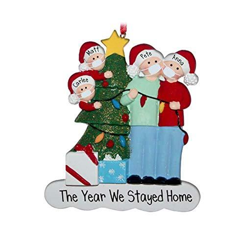 Aifono 2020 Navidad árbol de Navidad Adornos Colgantes Resina máscara árbol Lindos Miembros de la Familia decoración de Navidad Personalizada (4 Miembros de la Familia)