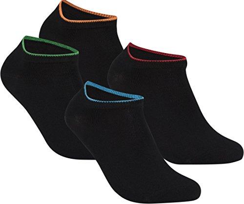 gigando   Edge Bambus-Sneaker-Socken für Damen und Herren   schwarz mit buntem Farbring   extra feines Maschenbild   handgekettelt   Bambus Viskose Stoff   4 Paar   rot, grün, orange, blau  