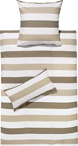 REDBEST Renforcé Bettwäsche-Set - mit Reißverschluss - atmungsaktiv, strapazierstark - Taupe-beige-weiß - Größe 135x200 cm (80x80 cm) - weitere Farben