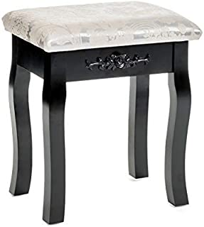 Mecor Vanity Stool Makeup Dressing Bench Carved Flowers Backless Padded Cushioned Seat Wood Legs (Black)