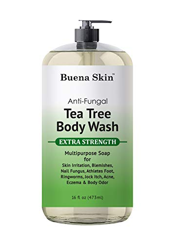 Tea Tree Anti Fungal Body Wash Extra Strength - For Acne, Body Odor, Foot and Toenails - Helps Wash Away Bacteria, Athletes Foot, Eczema, Ringworm, Jock itch By Buena Skin