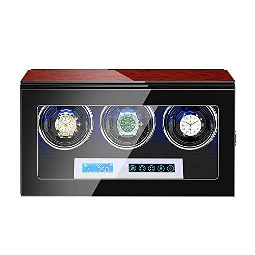 Devanadera de Reloj automática Caja de enrollador de Reloj Pantalla táctil LCD Iluminación LED incorporada Carcasa de Madera Pintura de Piano Exterior