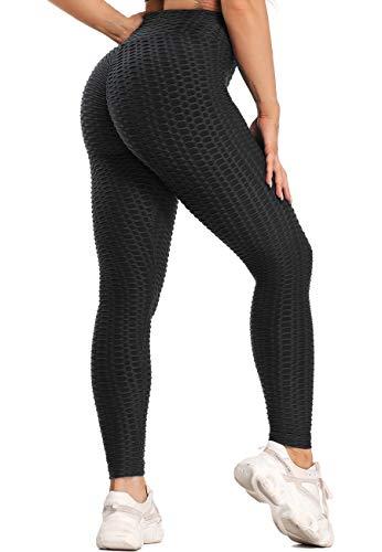 SEASUM Leggins Donna Sportivi Anticellulite Pantaloni Nido d'Ape 3D Leggings Compressione Push up Vita Alta Yoga Pants Elastici Collant Palestra Allenamento, A-Nero M