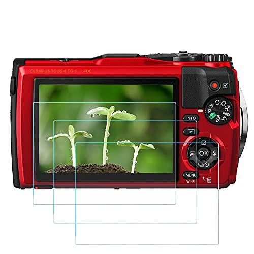 TG-6 Protector de pantalla de vidrio templado aplicable para cámara Olympus TG-6 TG-5 rojo/negro, FANZR 0.3mm 9H Dureza Anti-Scrach (paquete de 3)