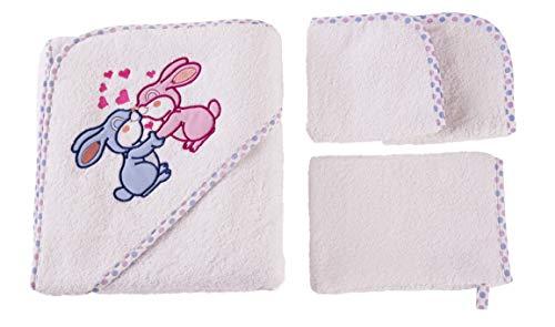 Accappatoio neonato - Set regalo nascita bimbo - Asciugamano con cappuccio 2 salviette spugna 1 Guanto - Ultra spessore 500 GSM - Morbissimo cotone - Certificato Oeko-Tex da 0 a 6 Anni - Coniglietto