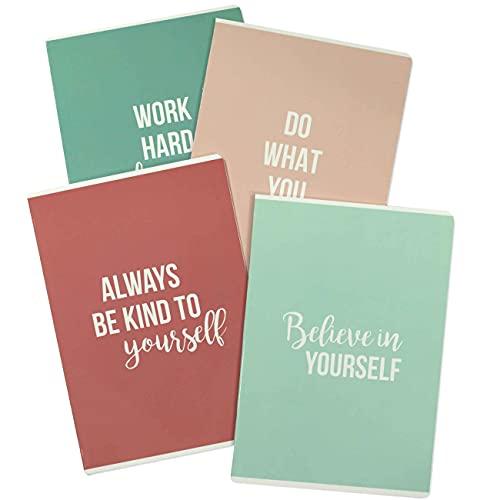 4 hochwertige Schreibhefte für Jugendliche und Erwachsene - DIN A4   liniert und kariert 32 Seiten - Motiv Pastell / Statements - perfekt für Universität, Schule und Büro - Set Nummer 6 - 16 Blatt