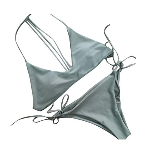 HOTstar Damen Bikini Set Bademode Push-Up Gepolsterter BH-Badeanzug Beachwear S(Grün,Small)