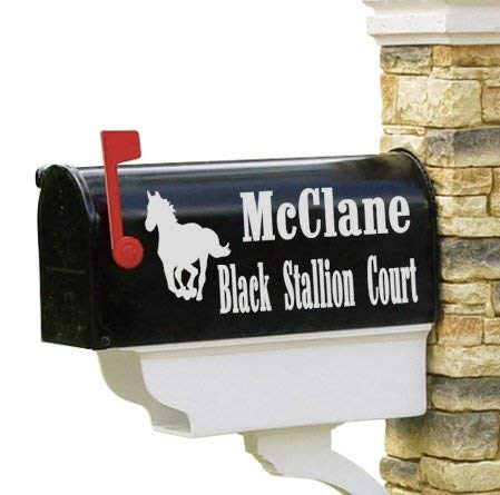 659ParkerRob Vinyl Decal Mailbox Decal Horse Set of 2 Personalized Gallop Western Ranch Family Name Mailbox Decor House Number Address Gift