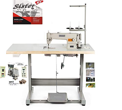Industrial Sewing Machine SR-8700 Lockstitch Sewing Machine with Servo Motor + Table Stand Cut Juki DDL8700 + LED Lamp Commercial Grade Sewing Machine for Sewing All Types of Fabrics
