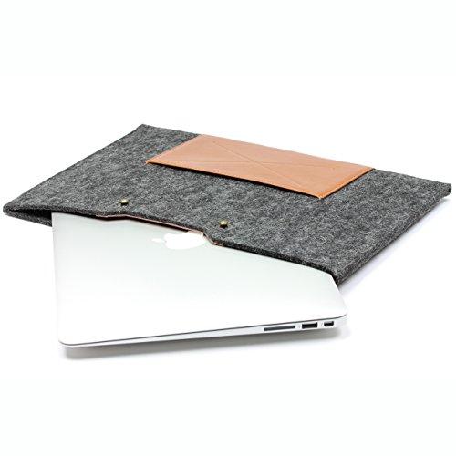 Urcover Handgefertige Designer MacBook Pro 15 Zoll (47 cm) Tasche Sleeve Hülle EXTRA Fach für Maus Ladekabel etc. Notebooktasche Ultrabook-Schutzhülle Laptophülle in Schwarz Braun