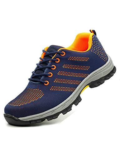 CCKK Zapatos De Seguridad con Puntera De Acero Transpirable para Hombres Botas De Construcción a Prueba De Pinchazos De Acero Antideslizantes para Exteriores, Zapatos De Trabajo