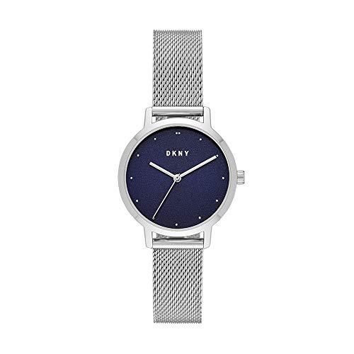 DKNY NY2840 Reloj Dkny Dama, Extensible Acero Plata, Caratula Azul, Analogo for Accesorios, Plata, Mujer Estándar