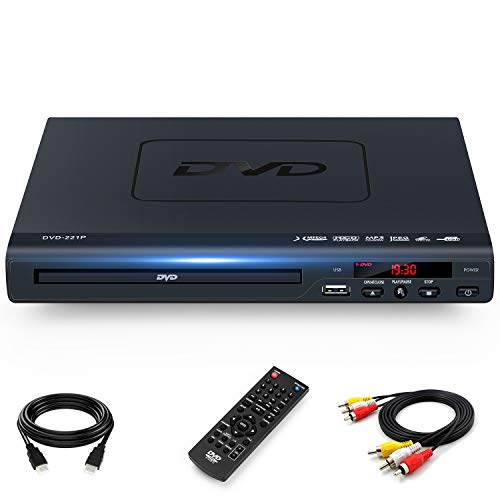 DVD Players for TV with HDMI Output, Full HD 1080p Upscaling DVD Player for Home, Plays All Formats & Regions, USB Port, Multi-Formats DVDs/CDs Supported, Remote Control and AV/HDMI Cable Included