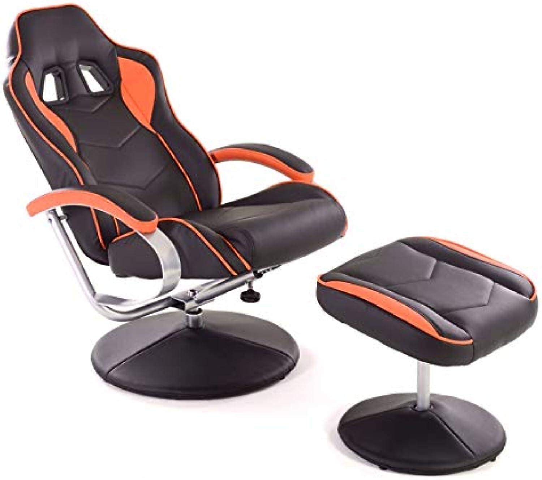 MACOShopde by MACO Mbel Racing TV Sessel mit Hocker aus Kunstleder in schwarz-Orange ergonomisch geformt kippbar und 360° drehbar