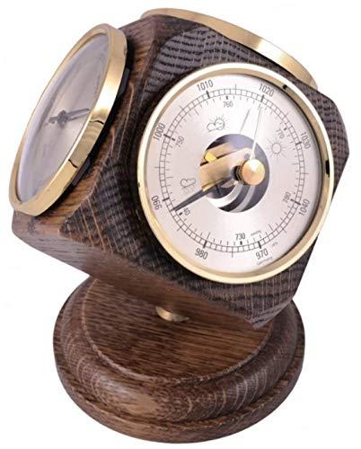 Vintage Oak Weather Station Desk Ornament - includes a thermometer,...