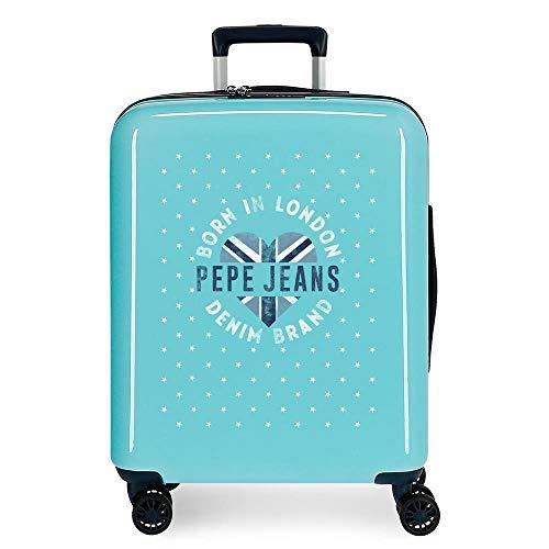 Pepe Jeans Emory Maleta de Cabina Azul 40x55x20 cms Rígida ABS Cierre TSA 38.4L 2,9Kgs 4 Ruedas Dobles Equipaje de Mano