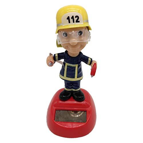 Bouder Solar Wackel Figur, Feuerwehrmann, Solar Wackelfigur, Solar Tanzen Auto Ornament, Ideal für Die Fensterbank, Auto, Büro, Verwaltung