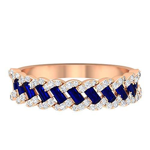 Anillo trenzado único, anillo de boda con gemas, anillo de zafiro azul de 0,66 ct, anillo de diamantes HI-SI de 0,3 ct, anillo de septiembre de piedra natal, 18K Oro rosa, Size:EU 50